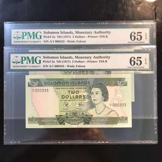 QEII First Series First Prefix Of Solomon Island! 1972 Solomon Islands 🇸🇧 $2, First Prefix  Fancy Number A/1 000332 - 000333, 双豹子!Gem 💎 UNC PMG 65EPQ