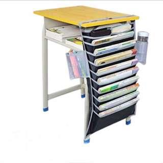 大容量課桌掛書袋高中學生書袋課桌收納課桌神書立器書掛袋