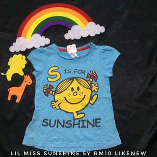 Little Miss Sunshine 3y Blue Tshirt (Tshirt Kanak Kanak)