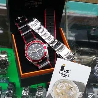 I.S. 瑞士艾雅士潛水機械自動套裝手表---白鋼紅圈