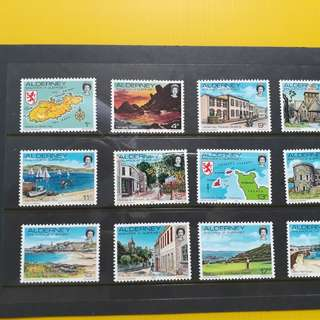 GUERNSEY - 1983 - Set of 12 MINT / UNUSED Stamps of Alderney Definitives VERY COLOURFUL - fd05