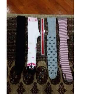 Lot of 4 Girls' Tights (9-18mths)