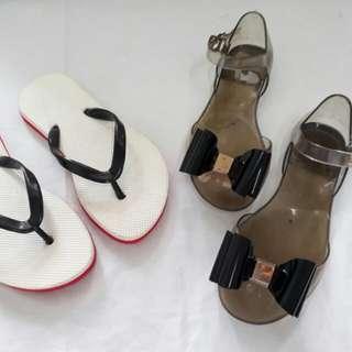 Size 13 girls black Flat jelly sandals