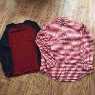 2 AUTHENTIC POLO Ralph LAUREN BUTTON DOWN LONG SLEEVE SHIRT