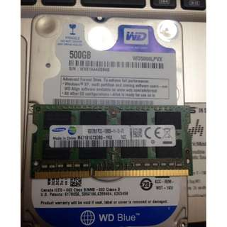 WD 500gb slim hdd for laptop and samsung 8gb DDR3L laptop ram