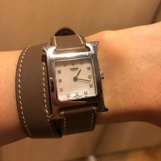 Hermes watch with diamond (double strap is new)