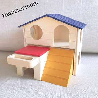 Hamster Colorful Wooden Blue Playground Hideout Toy