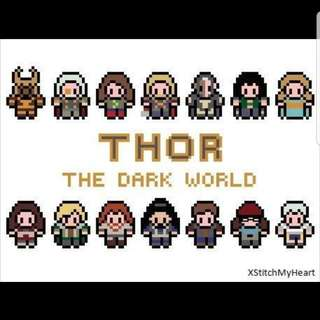Hama beads design Marvel Thor the dark world characters