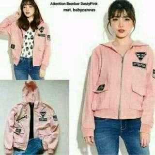Jaket boomber wanita - pink