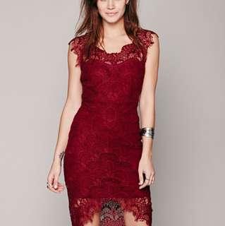 Free people peekaboo lace slip dress
