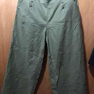 🚚 MOBO 雙排釦口袋直筒寬褲 綠色XL