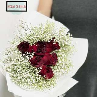 Valentine rose baby breath fresh flowers bouquet