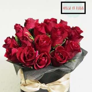 Fresh flowers in a box/valentine fresh flowers/valentine flowers in a box/valentine bloom box