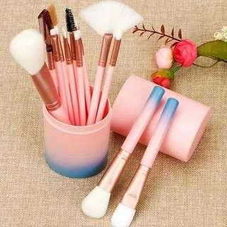 Make Up Brush Set 12pcs Tube | Kuas Kosmetik Tabung Gradient