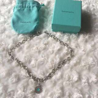 Tiffany & Co 1837 Round Enamel Teal Pendant/Charm Necklace