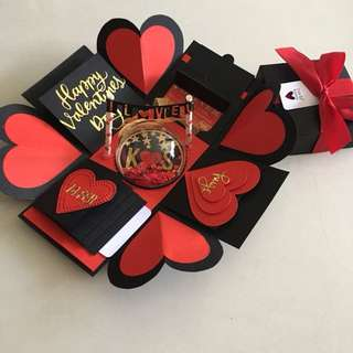Valentine day Explosion box with shaker, 4 waterfall in black , red & gold