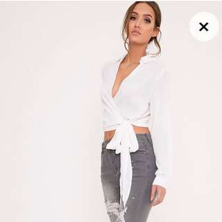 Avalyn White Wrap Front Tie Side Blouse
