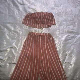 Zaful set high waist pants and crop top/bra