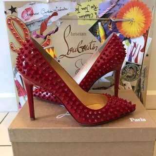 EVERYTHING MUST GO SALE* Christian Louboutin Pigalle Spikes Red Patent Leather