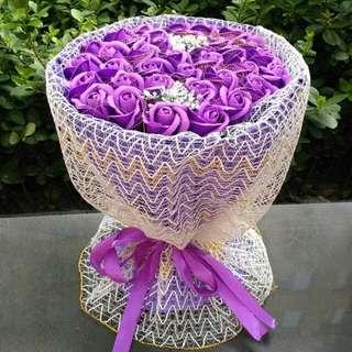 ♡情人節♡`33朵紫色香皂花[金絲]°