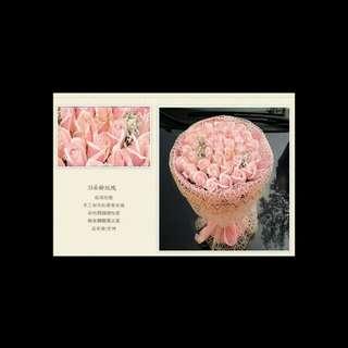 *情人節* 藕色香皂花.33【金絲】