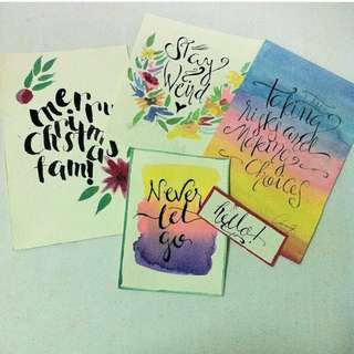 Watercolor Art and Calligraphy letterings