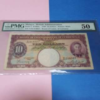 1940 malaya original AU pmg50 $10.