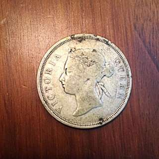 1895 Straits Settlements Queen Victoria Half-Dollar (50 Cents)