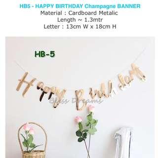 HB5 - Happy Birthday Champagne Banner
