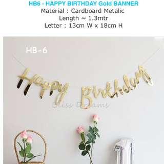 HB6 - Happy Birthday Gold Bunting