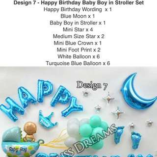 Design7 - Happy Birthday Baby Boy in Stroller Set