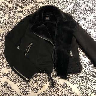 women's FUR lined suede biker jacket