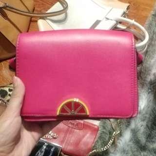 Beautiful pink ZARA clutch with gold chain