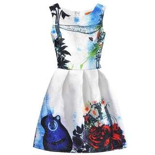 #15Off Maggie Peggy Guitar & Tree White Dress
