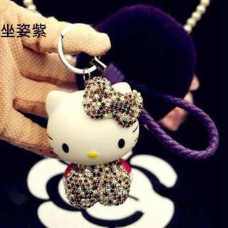 現貨-Kitty 立體鑰匙圈 施華洛世奇水晶鑽