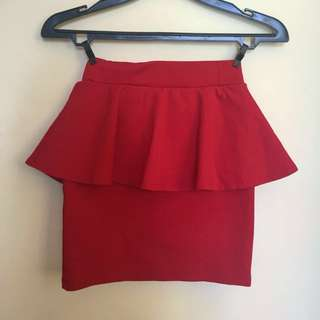 Zara Peplum Red Skirt