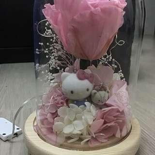 永生花 保鮮花 情人節花束 Hello Kitty 玫瑰花 情人節禮物 有燈款 床頭燈