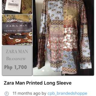 SALE‼️ Zara Mens Printed Long Sleeve