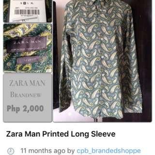 SALE‼️ Zara Mens Printed Long Sleeve