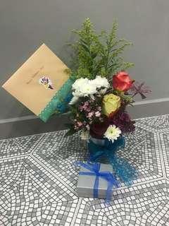 Blue Chomel themed floral arrangement