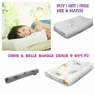 Cheapest in Carousell! BUY 1 GET 1 FREE! Chris & Belle BUNDLE Deals at $49.90 usual price up to $120. U can mix N match LIMITED FOR 20 SETS ONLY! Chris & Belle Kids pillow 1 to 3 yrs, 4 to yrs or Kids Bolster 3 to 7 yrs.