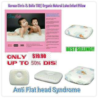 $19.90 only selling fast! NO.1 CHOICE FOR UR INFANTS/BABIES!! ANTI FLATHEAD SYNDROME! Key Features of  Best Selling Korean Chris & Belle Infant Pillow( 0 to 12 months)