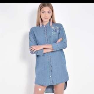 Swift Embroidered Denim Shirtdress