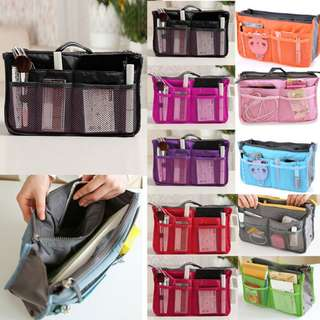 Dual Bag in Bag Organizer Tas Pouch Make Up Charger Travel