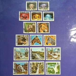 3 X Full Set Of Zimbabwe Used Stamp Set