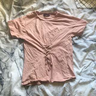 Pink Top with Cute Tie Detail