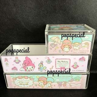 Last SET Left Little Twin Stars Square Acrylic Case My Melody Rectangle Case Tray