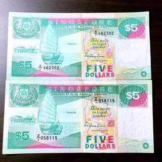 A1🌟Z1 🌟ship series five dollar first prefix and replacement note