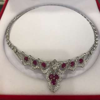 Necklace 18k white gold 48grams with diamonds