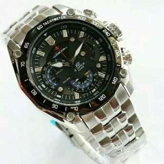 Jam Tangan Pria Casio Edifice EF 550 Chronograph Silver Black Dial